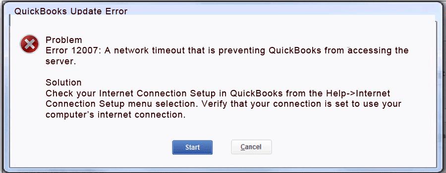 quickbooks error code 12007