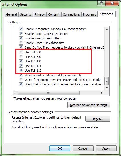Update SSL Settings